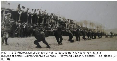 Photograph of the 'tug-of-war' event - May 1, 1919 at Vladivostok Siberia
