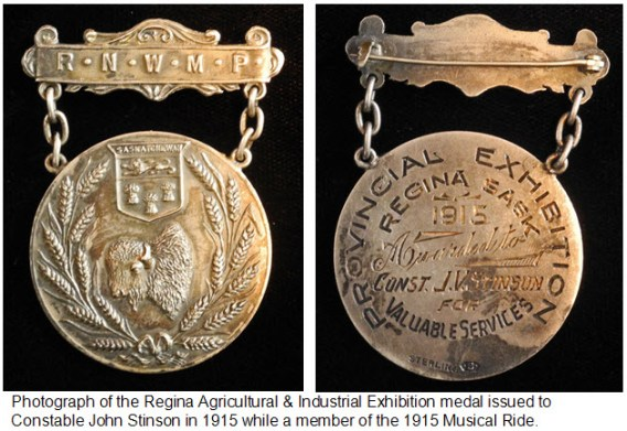 Photograph of face and reverse of RNWMP medal awarded to Cst. John Stinson in 1915