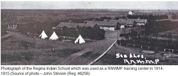 Photograph of the Regina Indian School barracks in 1914-1915 which was used by the RNWMP as an extended training facility in Regina.