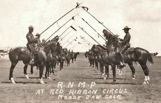 Photograph of the 1915 RNWMP Musical Ride at Moose Jaw Blue Ribbon Circus