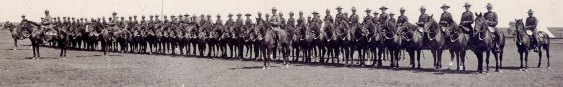 Photograph of 1915 RNWMP Musical Ride in formation at the Moose Jaw Blue Ribbon Circus