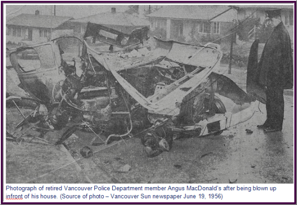 Photograph of Vancouver Police department's car bombed