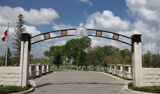 """Photograph of the RCMP """"Depot"""" Division Cemetery main entrance. (Source of photo - Sheldon Boles)."""