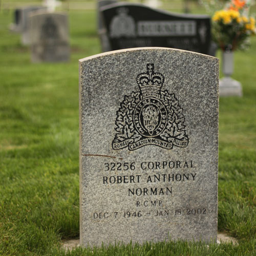 Photograph of a standard RCMP Regimental marker (Source of photo - Sheldon Boles).