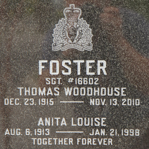"""Photograph of a cremation gravemarker at the RCMP """"Depot"""" Cemetery (Source of photo - Sheldon Boles)."""