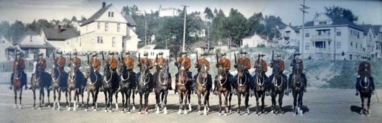 1934 - RCMP Musical Ride performs in Portland Oregon.  Members of this ride were from the RCMP Fairmount Barracks in Vancouver (Source of photo - Ione Christensen).