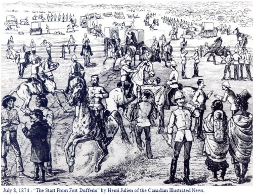 Illustration of the first members of the NWMP preparing to set out on the March West