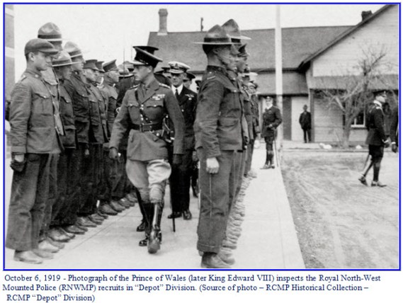 Photograph of Prince of Wales inspecting NWMP members at 'Depot' Division in Regina - October 6, 1919
