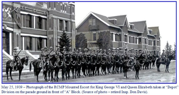 """Photograph of RCMP mounted escort for the King and Queen - """"Depot"""" Division - Regina, Sask."""