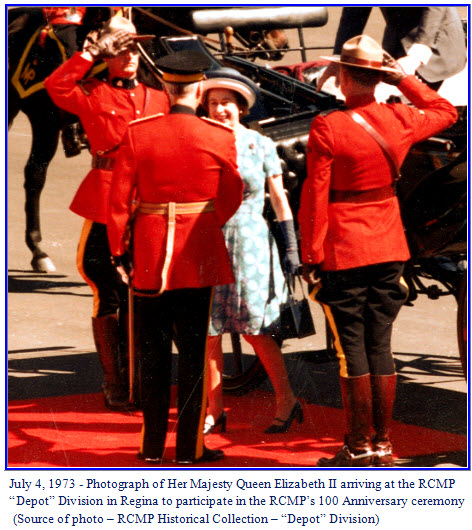"""Photograph of Queen Elizabeth II being met by the Commissioner of the RCMP at """"Depot"""" Division in Regina, Sask."""