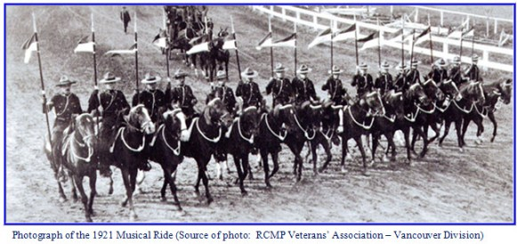 Photograph of the first RCMP Musical Ride demonstration in 1921 at the Landsdowne Park in Ottawa