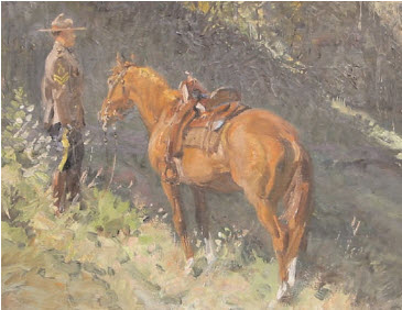 "Painting of RCMP Cpl. A.J. Wilson with his ""N"" Division horse"