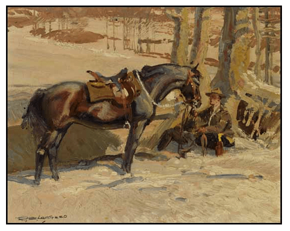 """Painting of RCMP Cpl. A.J. Wilson with his """"N"""" Division horse"""