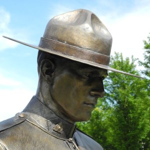 "Photograph of RCMP memorial statue - ""E"" Division memorial"