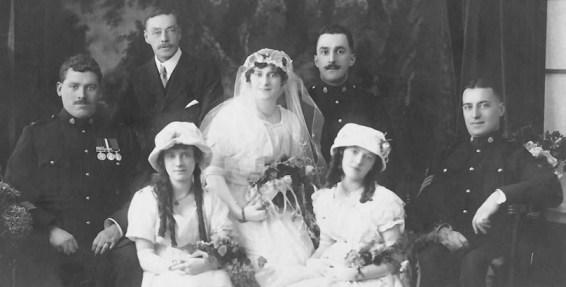 Photograph of the wedding of Maggie Jones and Richard Nicholson on January 17, 1917.