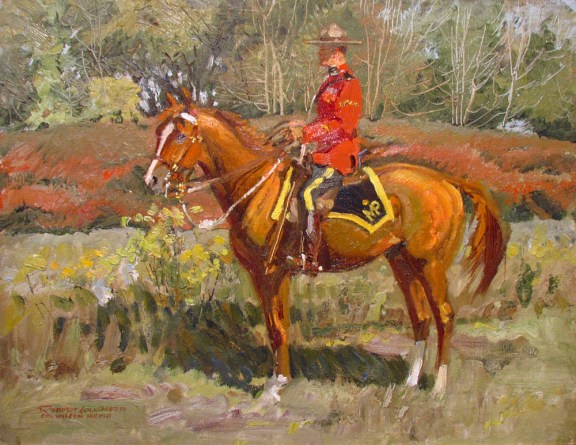 """Painting of RCMP Cpl. A. Wilson in red serge at """"N"""" Division in 1945"""
