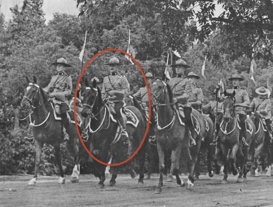 "Late 1930s - Photograph of S/Major Tim Griffin leading members of the RCMP Musical Ride.  Location is believed to be at ""Depot"" Division in Regina. (Source of photo - Tim Griffin Collection)"