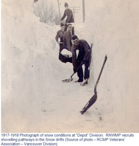 "Photograph of the deep snow at ""Depot"" Division in the winter of 1918-1919"