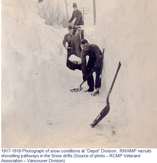 """Photograph of the deep snow at """"Depot"""" Division in the winter of 1918-1919"""