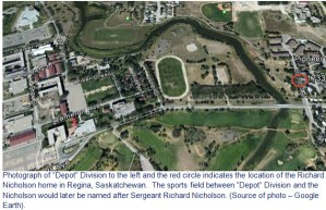 """Google Earth image of RCMP """"Depot"""" Division and the Nicholson home"""