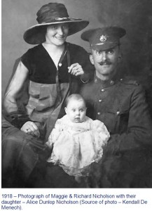 Photograph of Maggie and Richard Nicholson with daughter Alice