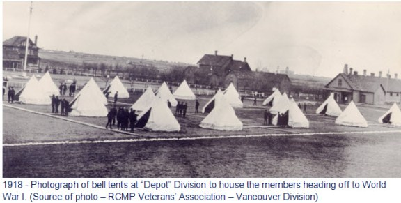 """Photograph of bell tents for soldiers heading off to World War I - """"Depot"""" Division RNWMP"""