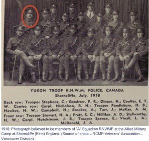 """Photograph of """"A"""" Squadron RNWMP members which includes Cpl. Richard Nicholson"""