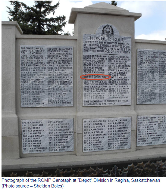 "Photograph of the RCMP ""Depot"" Cenotaph"