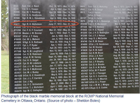 Photograph of the RCMP Memorial at Beechwood Cemetery in Ottawa