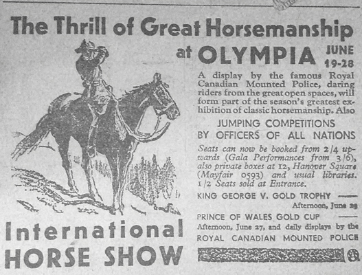 1930s - Photgraph of a newspaper advertising a forthcoming RCMP Musical Ride demonstration.