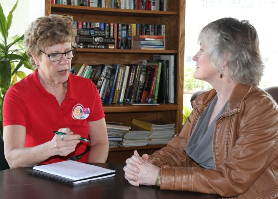 Photograph of RCMP Veteran Marg Shorter interviewing RCMP Veteran Jane Hall