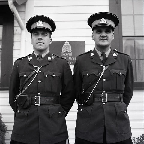 Photograph of two unknown RCMP members stationed at Squamish Detachment