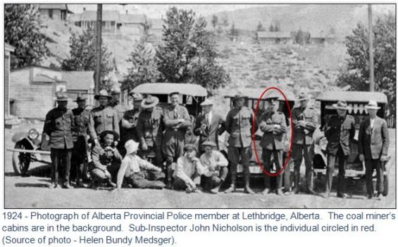 1924 - Photograph of Alberta Provincial Police members stationed at Drumheller Alberta. (Source of photo - Helen Bundy Medsger)