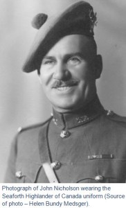 Photograph of John Nicholson in the Seaforth Highlanders of Canada Regiment in the mid 1930s. (Source of photo - Helen Bundy Medsger)