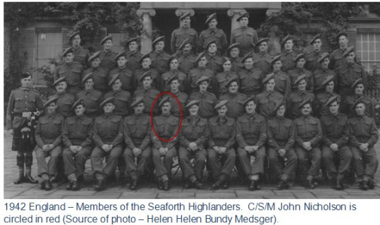 Photograph of members of the Seaforth Highlanders of Canada Regiment in England. (Source of photo - Helen Bundy Medsger)