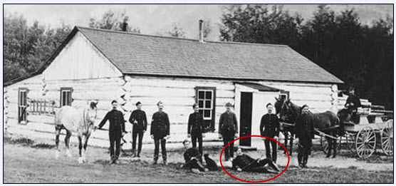 1888 - Photograph of NWMP members stationed at Banff.  Cst. 1888 - Photograph of an Alberta Cricket Team.  NWMP member William McMahon is identified as being circled in Red. (Source of photo - Library Archives of Canada).