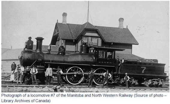 Photograph of a locomotive #7 of the Manitoba and North Western Railway (Source of photo – Library Archives of Canada)