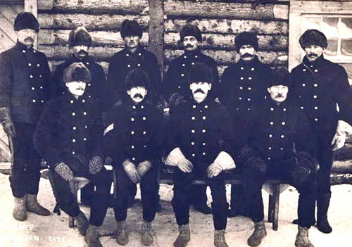 "Photograph of Northwest Mounted Police (NMWP) members wearing the uniform similar to what was worn by Constable William Ross (Source of photo - RCMP Historical Collections Unit - ""Depot"" Division)"