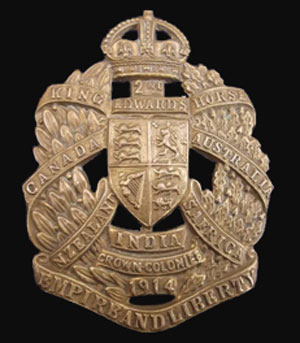 Photograph of the 2nd King Edward Horse Cavalry Regiment cap badge (Source of photo - Ric Hall's Photo Collection)