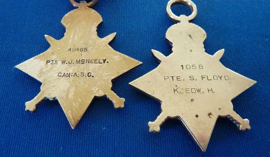Photograph of Sidney Floyd's 1914-1915 World War I Star (Source of photo - Ric Hall's Photo Collection)