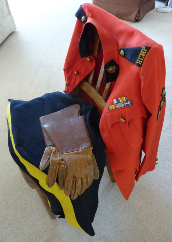 Photograph of RCMP Veteran Sidney Floyd's uniform kit (Source of photo - Ric Hall's Photo Collection)