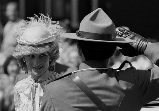 Photograph Princess Diana with RCMP member saluting her (Source of photo - Ric Hall's Photo Collection)