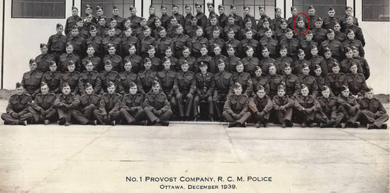 1939 No.1 Provost Corp consisting of 100% RCMP members.  Constable William Warner is identified by the red circle (Source of photo - Ric Hall's Photo Collection)