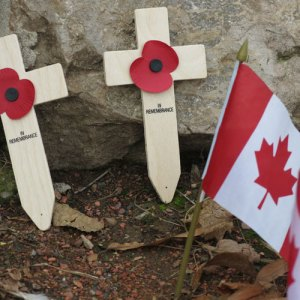 Photograph of remembrance crosses & Canadian flag (Source of photo Sheldon Boles)