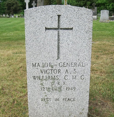 Photograph of the grave marker for Major General Victor Williams (Source of photo - RCMP Gravesite database).