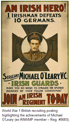 Photograph of the World War I recruiting poster featuring Ex-RNWMP Cst. Michael O'Leary (Reg. #5685).