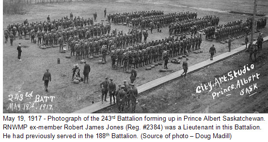 May 19, 1917 - Photograph of the 243rd Battalion forming up in Prince Albert Saskatchewan. (Source of photo - Doug Madill)