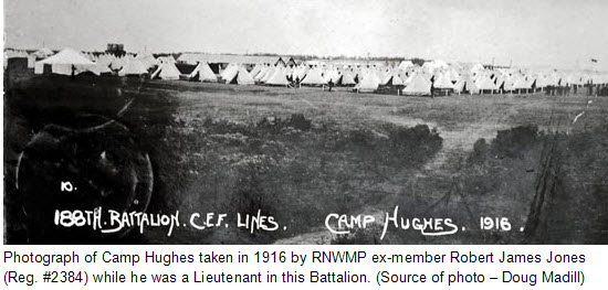 Photograph of CEF Camp Hughes in southern Manitoba (Source of photo - Doug Madill)