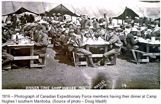 Photograph of meal time at CEF Camp Hughes in southern Manitoba (Source of photo - Doug Madill)