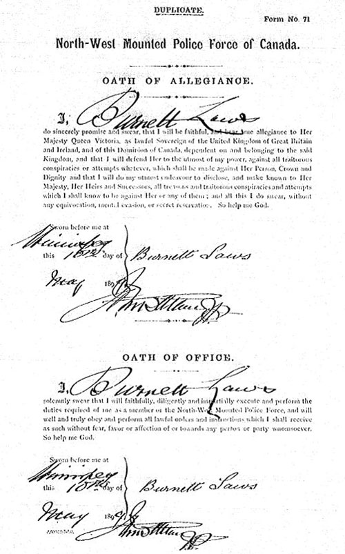 Image of the NWMP engagement document for Burnett Laws (Source of image - Library Archives of Canada)